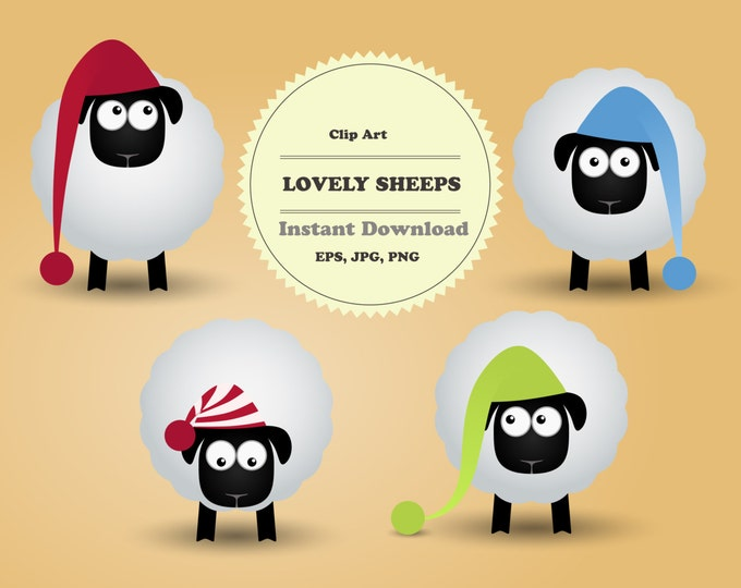 Pets Сlipart, Animal Clipart, Sheeps Сlipart, Clipart Set, Sticker, Scrapbooking, Instant Download, JPG, PNG, EPS