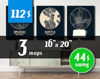 MEGA OFFER! 3 maps 16''x20'' size - 44 dollars saving! Great deal -SAVE 44 dollars - get 3 maps with discount!
