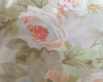 Vintage pillowcase with cabbage roses! Free shipping