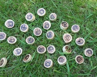 Full set of 25 Elder Futhark driftwood runes