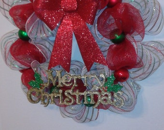 Green, Red, and White Christmas Wreath