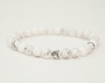 6mm White Howlite Bracelet, Mens Bracelet, Womens Bead Bracelet, Gemstone Bracelet, Stacking Yoga Bracelet, Healing Stones, Spiritual Beads