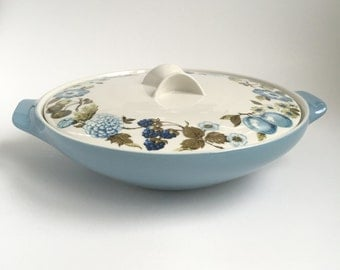 2 Qt Round Covered Casserole in Blue Vineyard by Iroquois