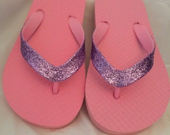 Girls Flip Flops , Glitter , Flip Flops , Girls Sandals , Beachware , Sparkly Flip Flops , Pink , Purple , Yellow , Girls