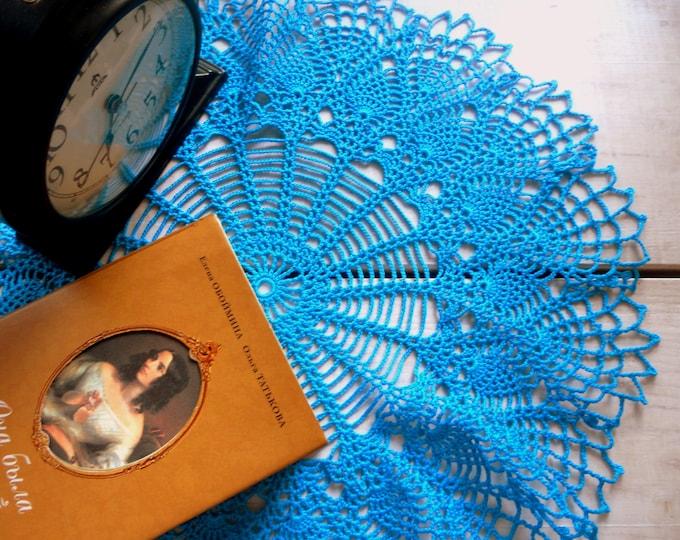 16 inch Doily, Blue Lace Table Decor, Blue Crochet Doily, Handmade Cotton Tablecloth, Blue Rustic Kitchen Decor, Housewarming Gift, Blue