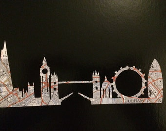 London skyline hand cut map