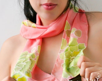 Floral Silk Scarf Hand Painted Peachy and Green Floral and Circles Ornament Gift for Coworker Womens Scarves Batik Silk Hair Scarf Gift