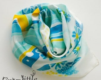 Silk scarf Hand Painted White Yellow Turquoise Blue Floral Silk Scarf Gift for Coworker Womens Scarves Woman Necktie Silk Hair Scarf