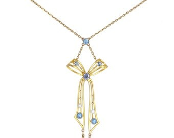 Antique Sapphire and Pearl Bow Pendant