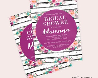 Bridal Shower Invite, Printable Shower Invitation, Bridal Shower Invitation, Pretty Invitation, Baby Shower Invitation, Floral Invitation