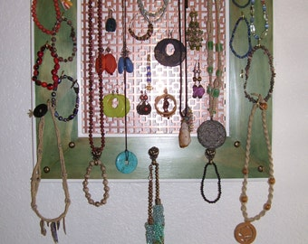 Jewelry Wall Display Emerald Green Stain Copper - Necklace, Earring, Bracelet, Hemp Handmade in AZ