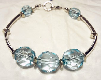 Blue swarovski beaded bracelet
