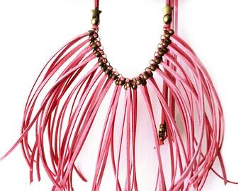 Boho necklace fringed suede PINK STAR
