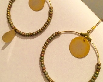 Creole earrings miyuki style boho brass