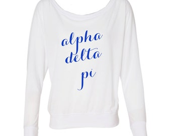 alpha delta pi off the shoulder flowy tee alpha delta pi dolman sleeve tee adpi flowy tshirt greek apparel sorority letters