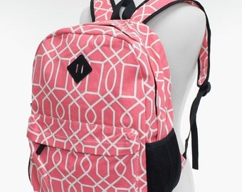 Monogrammed Coral canvas backpack