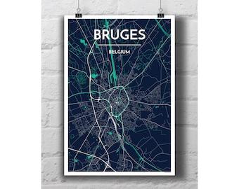 Bruges, Belgium - City Map Print