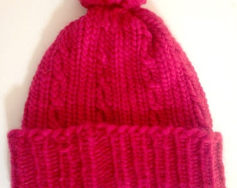 Cherry Knit Cabled Beanie