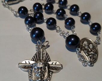 Masculine Crucifix Car Rosary in Navy Swavorski Pearl