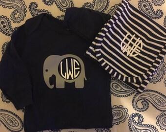 Elephant monogram onesie with burp cloth