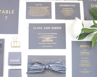 Wedding Invitation Gold Foil Grey and Gold contemporary