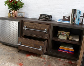 Shipton Industrial Reclaimed Scaffolding Board and Perforated Steel Sideboard - made to order furniture by www.urbangrain.co.uk