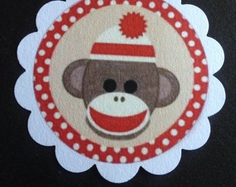 red u0026 brown sock monkey baby shower 1st birthday party favor or treat tags cupcake toppers