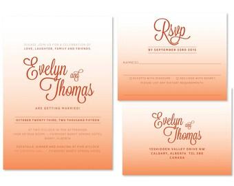 Ombre Wedding Invitation Set (priced per 25)
