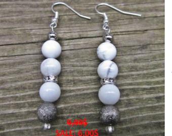 Howlite and crystal earrings