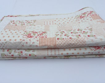 """Shabby Chic Country Quilt,  Muted Pink and White, Floral Quilt, Lap Quilt, Child Youth Quilt, Crib Quilt, 45"""" x 54"""""""