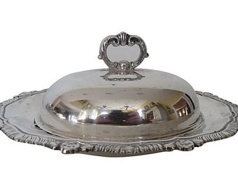 Silverplate Domed Butter Dish, Covered Silver Butter Dish, Butter Dish