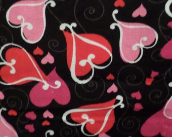 Valentines Fabric/Looped Hearts On Black/Cotton/By the Yard