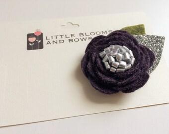 Felt flower alligator clip - Plum Purple Rose with silver center - green and silver glitter leaves -  headband
