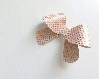Leather bow headband - Classic large pale pink and gold polka dot bow headband - alligator clip