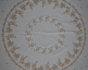 Round Vintage Floral Tablecloth