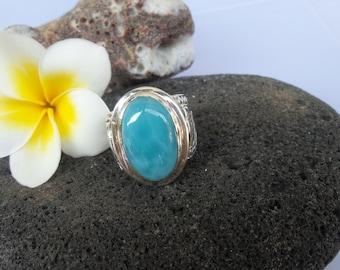Super Blue quality larimar ring silver 925