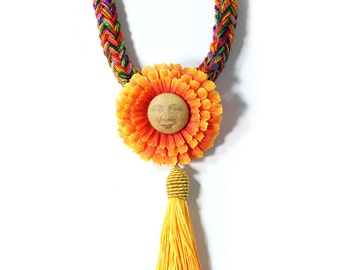 handmade colorful flower textile necklace