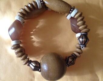 Tan memory wire bracelet