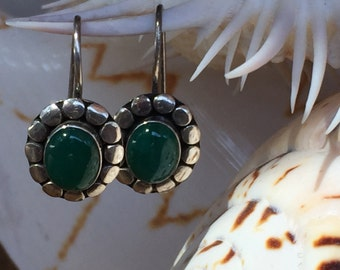 Vintage Sterling and Green Semiprecious Stone Earrings