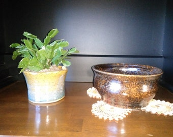 brown and orange serving bowl, fruit bowl, salad bowl, utility bowl, decorative bowl, handmade pottery bowl