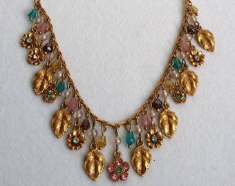 Vintage Gold Tone Dangle Leaves & Flowers Beaded Charm Necklace