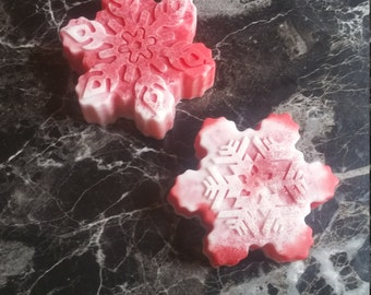 snowflake soap, Christmas soap, peppermint soap, candy cane soap, red and white soap