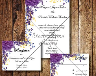 "Wedding Invitation/RSVP/Reception Card ""Wildwood Flower"""