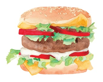 Food Illustration HAMBURGER Watercolour Illustration Print