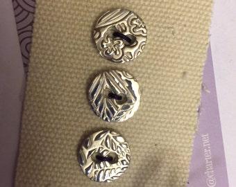Botanical Design - 1/2 Inch Fine Silver Buttons