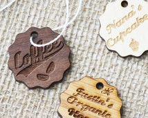 Wooden Tags, Pack of 40 Walnut Oak or Birch Tags for Clothing Handmade Products Knitting
