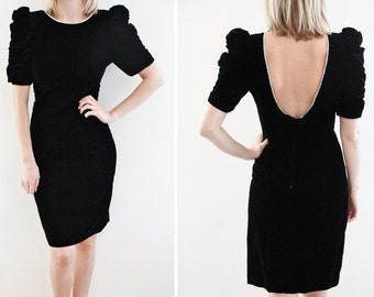 SALE Vintage Short Black Party Dress