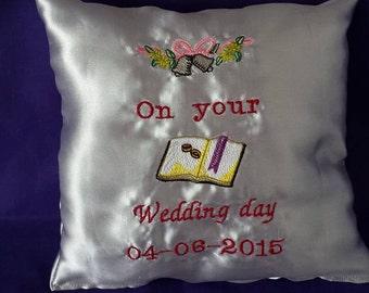 Satin Wedding Keepsake Pillow 8 x 8