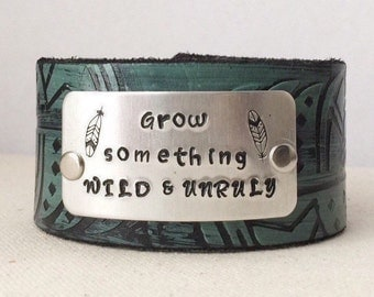 Grow Something Wild and Unruly Feather Leather Bracelet Cuff