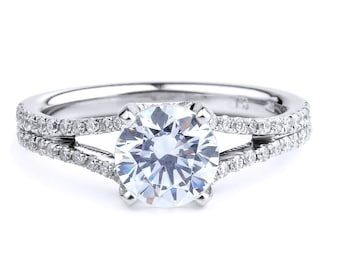 Diamond Engagement Ring In 14K White Gold Split Band Engagement Ring